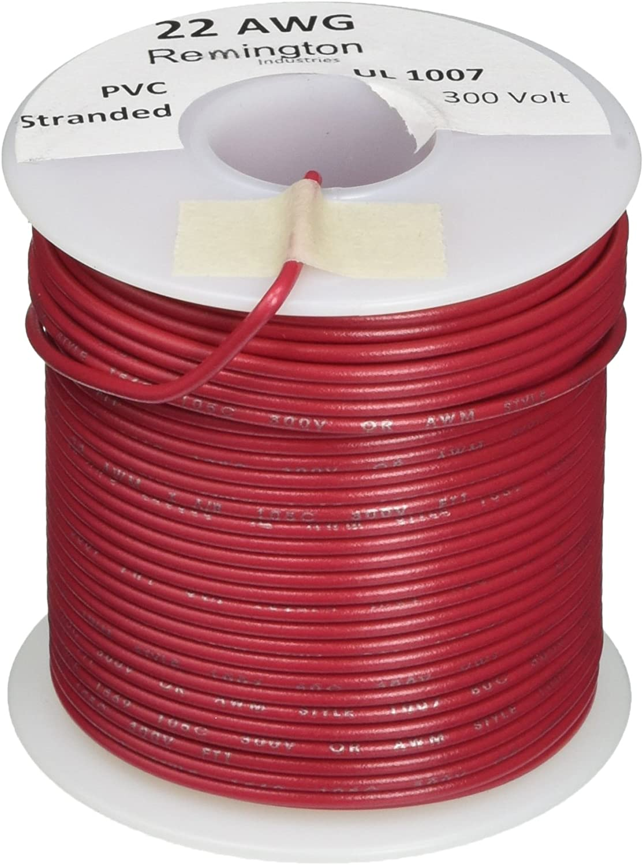 Remington Industries 22UL1007STRBLA UL1007 22 AWG Gauge Stranded Hook-Up Wire 100 Length 0.0253 Diameter 300V Black
