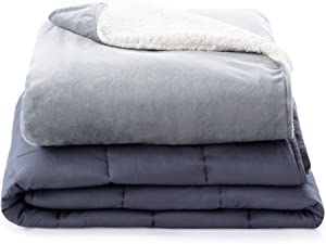 Linenspa5PoundWeightedBlanketwithMinkyand Sherpa Duvet Cover -36x48Inches
