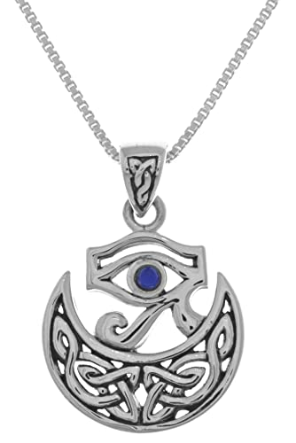 Amazon jewelry trends sterling silver eye of horus celtic moon jewelry trends sterling silver eye of horus celtic moon pendant with synthetic lapis on 18quot aloadofball Image collections