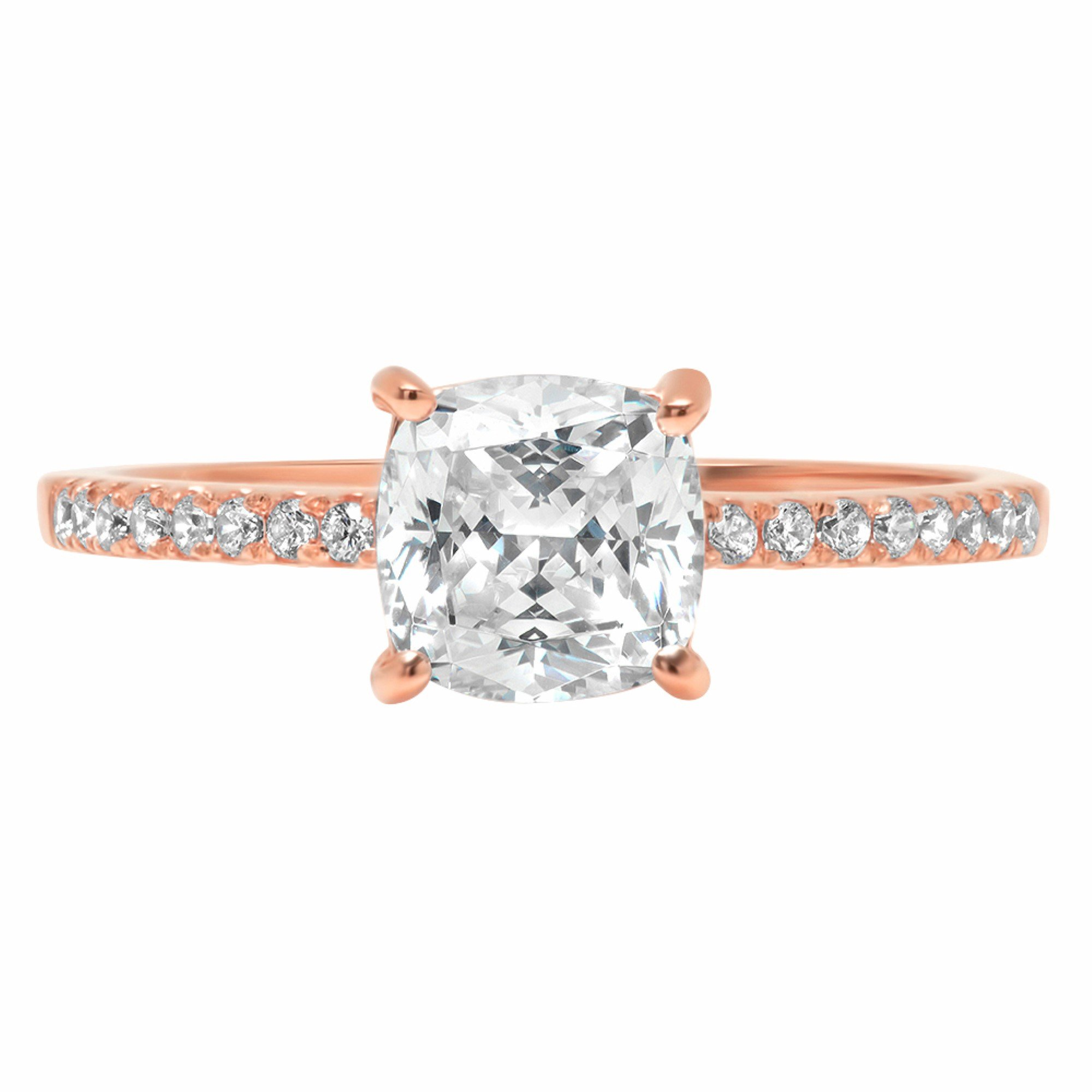 Cushion Round Cut Classic Solitaire Designer Wedding Bridal Statement Anniversary Engagement Promise Accent Solitaire Ring 14k Rose Gold, 1.86ct, 9 by Clara Pucci