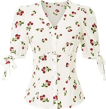 Belle Poque Camisas Ligeras Lindas de Manga Corta de Verano de Las niñas de los años 50 BPS02126: Amazon.es: Ropa y accesorios