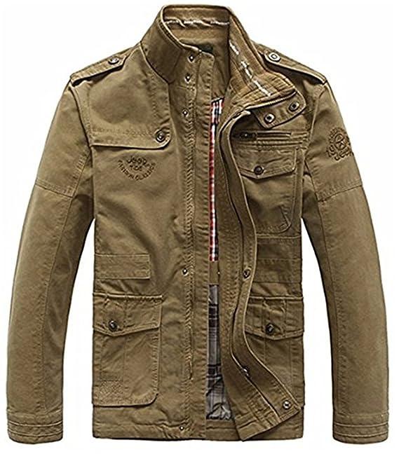 Sysky Chaqueta Militar Hombre Casual algodón Cazadora Casual Abrigo Invierno Otoño Chaquetas Outdoor: Amazon.es: Ropa y accesorios