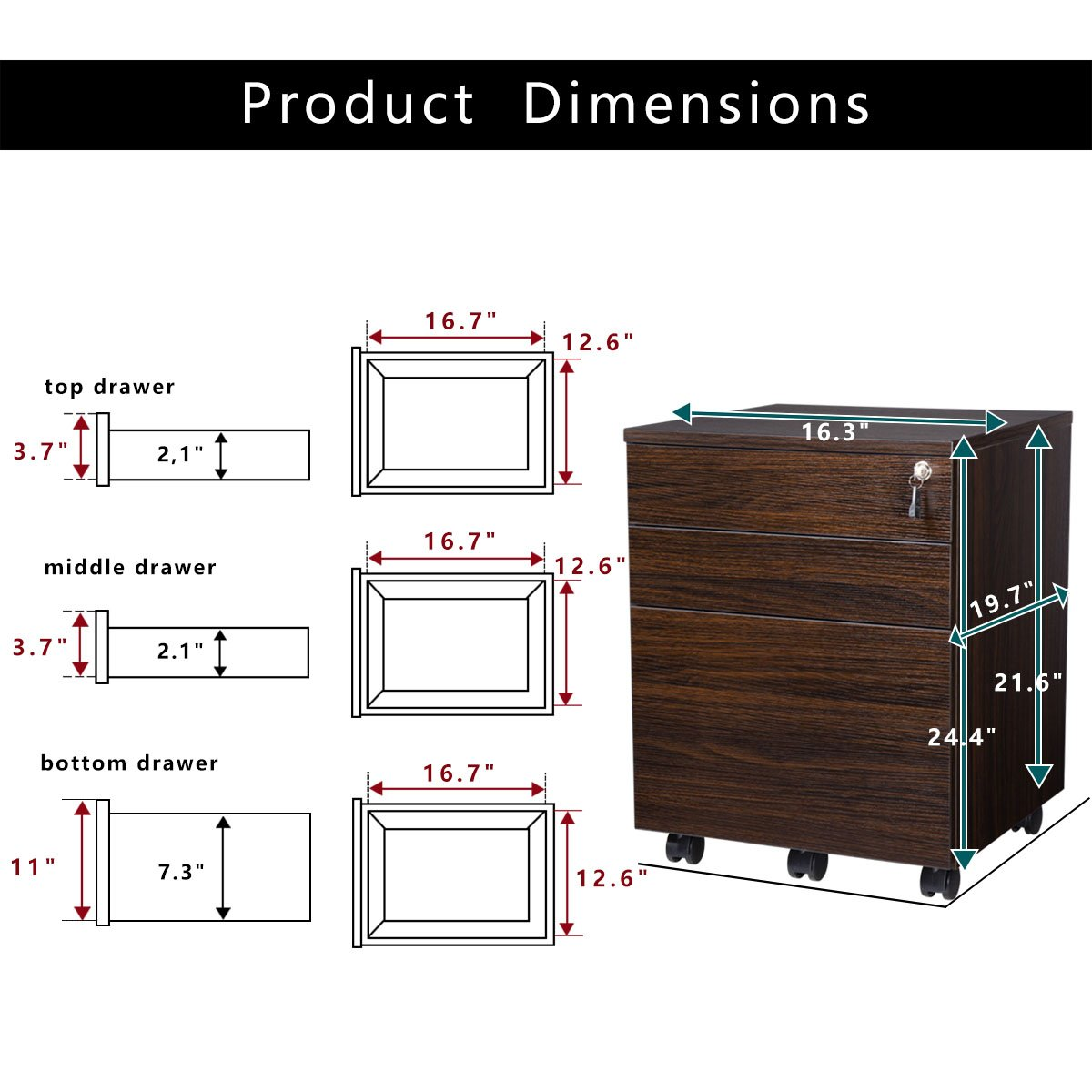 TOPSKY 3 Drawer Wood Mobile File Cabinet Fully Assembled Except Casters (WALNUT) by TOPSKY (Image #4)