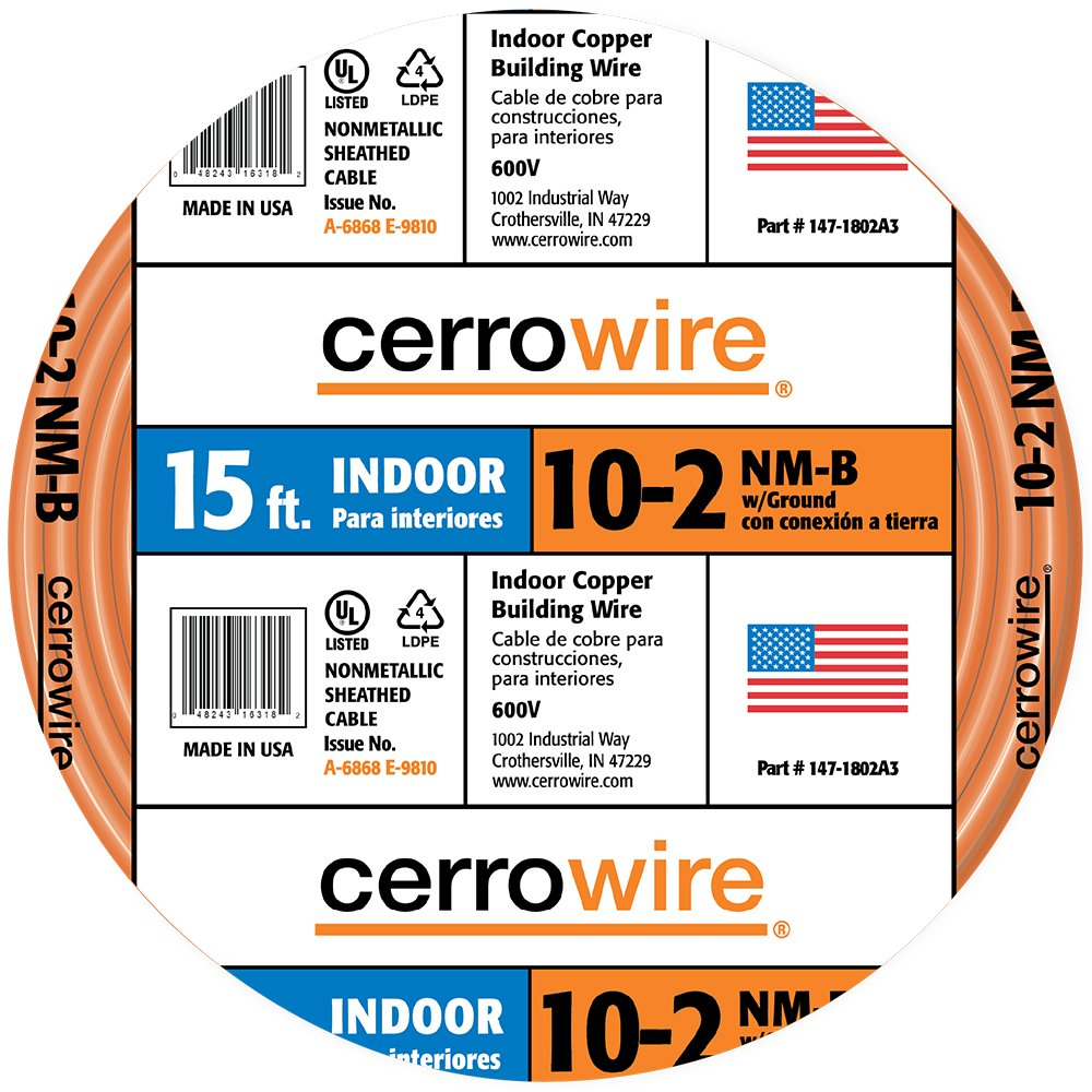 Cerrowire 147-1802A3 15-Feet 10/2 NM-B Solid with Ground Wire, Yellow