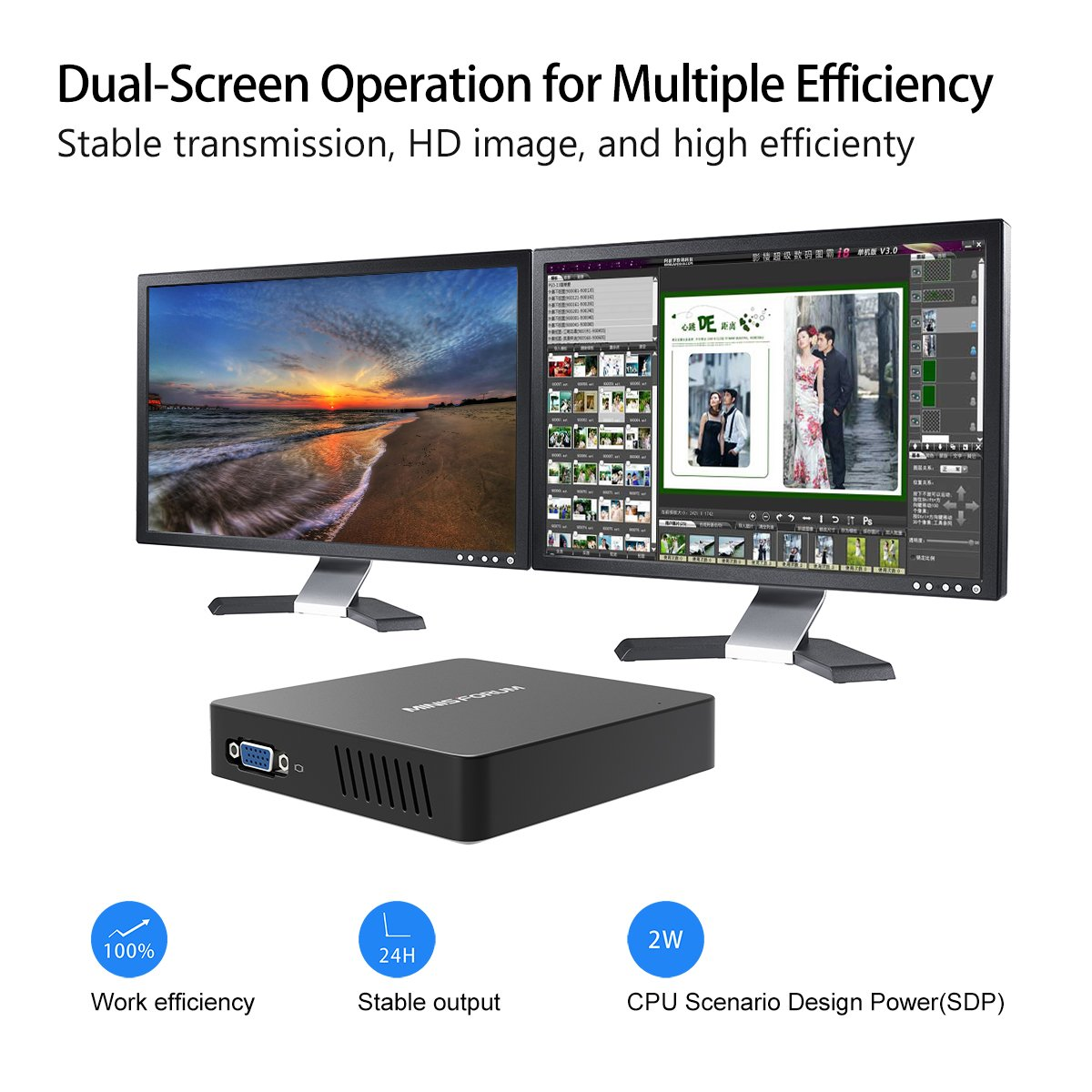 Upgraded Z83-F Fanless MINI PC Desktop, 4GB/32GB Intel Atom x5-Z8350 (up to 1.92 GHz) HD Graphics 400/ 4K/ 2.4G+5.8G WiFi/ 1000Mbps LAN/ BT4.0 [VGA&HDMI Dual Output] [Support Windows 10 64-Bit] by Plater (Image #2)