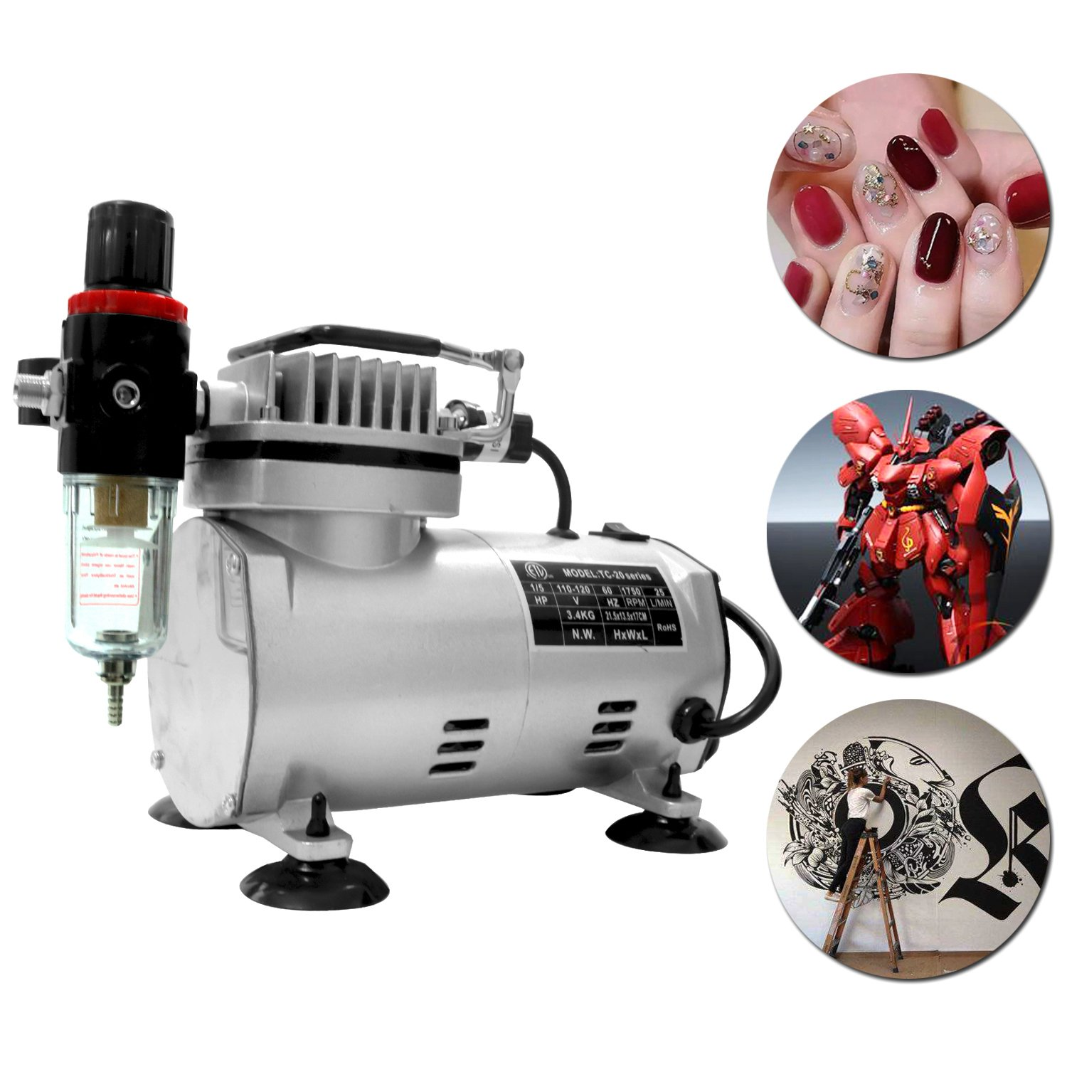 1/5 HP Airbrush air Compressor high Performance with Water Trap Filter, 6ft air Hose, 2 Dual-Brush Holder for Hobby Paint,Cakes,Tatoo,Iwata (0002) Best Sunshine