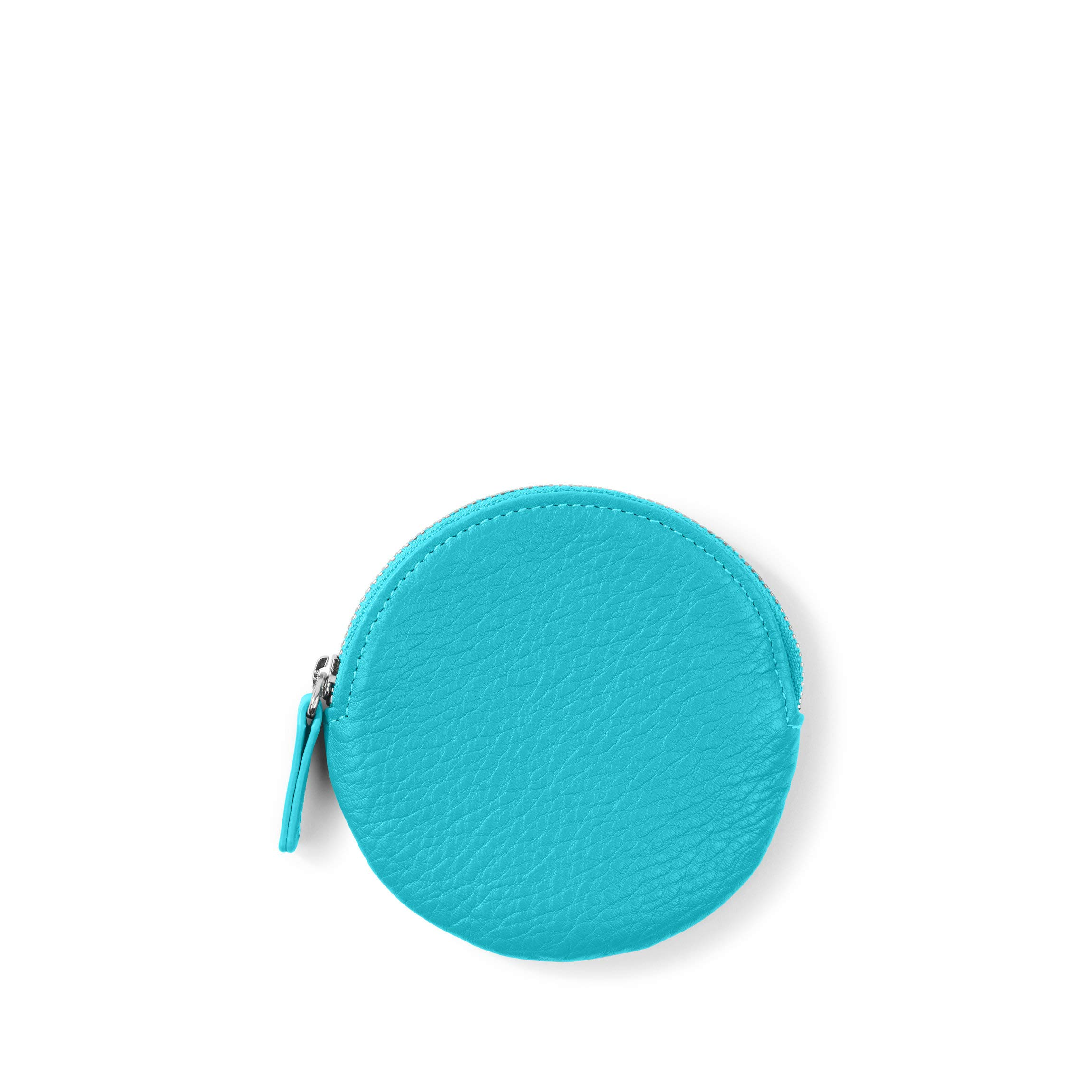 Round Coin Pouch - Full Grain Leather - Teal (blue)