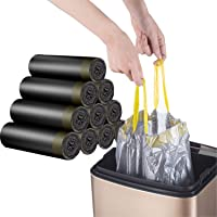 Drawstring Garbage Bags, Durable Leak-Proof Trash Bags, 4-6 Gallon Strong Rubbish Bags Wastebasket Liners for Home…