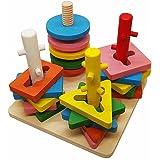 Juguetes de madera Pila y Ordenar Puzzle El color y el reconocimiento de formas geométricas Junta para bebés, niños, niño