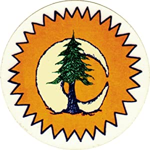 "Infamous Network Sun Moon Pine Tree - Small Bumper Sticker or Laptop Decal (3"" Circular)"