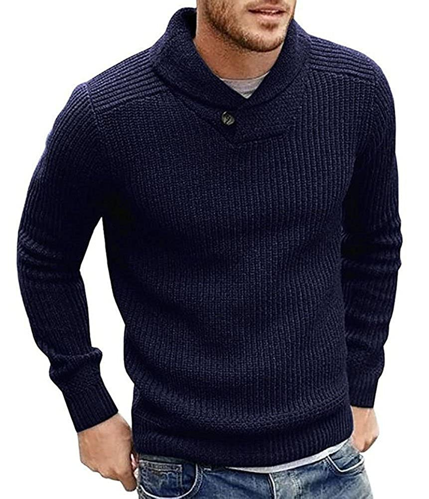 Mens Sweaters Shawl Collar Slim Fit Pullover Fall Winner Casual Knit Ribbed Coat fashion-t-shirts