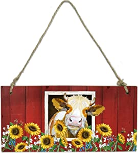 Sunflower Hanging Wooden Sign Rustic Art Cow with Sunflower Farmhouse Hanging Wall Art Reversible Message Decorative Sign Wood Plaque Welcome Sign for Craft Hanging Signs for Front Porch - 8 x 4 in