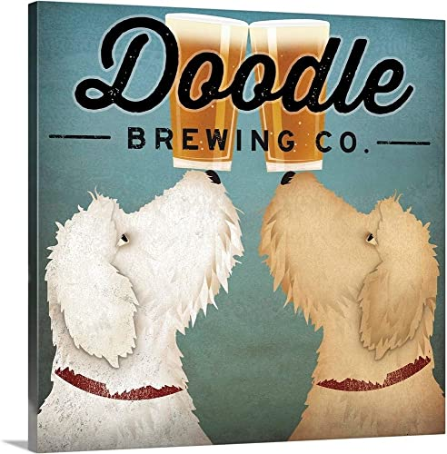 Doodle Beer Double Canvas Wall Art Print