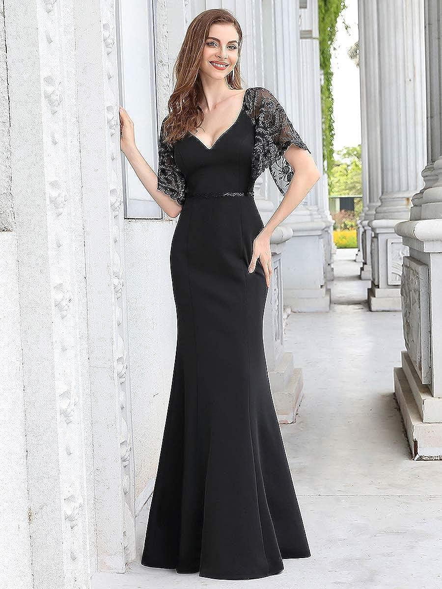 Ever-Pretty Vestito da Cerimonia Scollo a V Stile Impero Sirenetta Ricamato Paillettes Maniche Corte Donna 00550