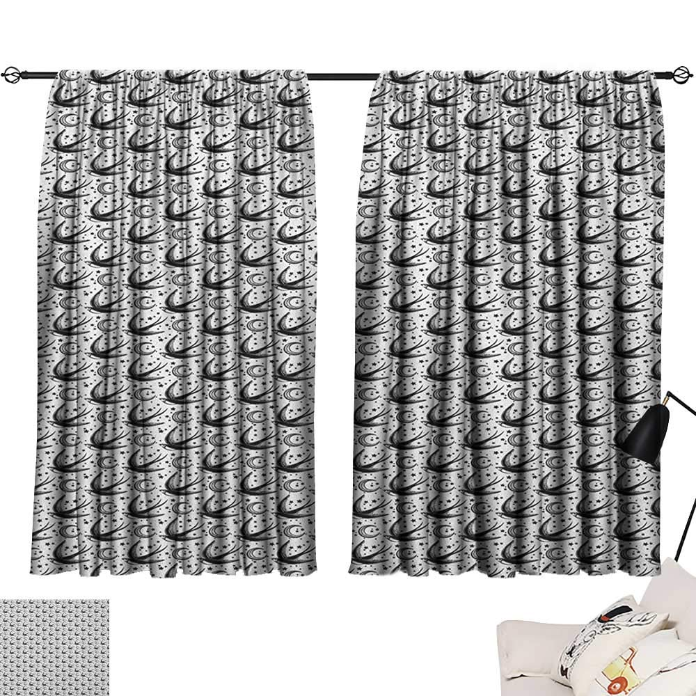Pattern23 W96  x L72  Beihai1Sun Moon décor Darkening Curtains Cartoon Style Moons and Stars Hanging from Clouds Kids Boys Design Sky Pattern Curtain for Kids Room Pale bluee Yellow W63 x L45