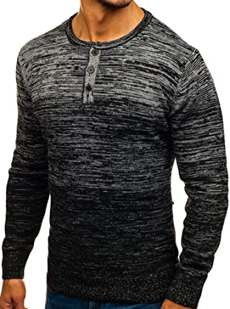 Karlywindow Mens Long Sleeve Henley Sweaters Gradient Color Block Stylish Pullover