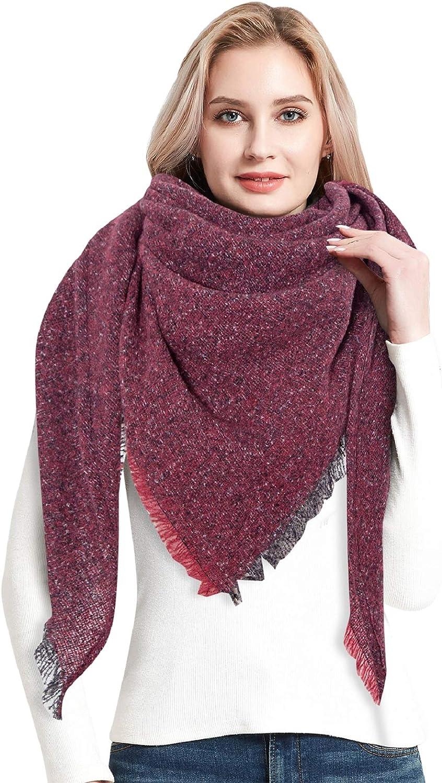 Yusongirl Plaid Scarfs for Women Winter Fashion Long Shawl Blanket Wrap Cape Large Square Warm Tartan