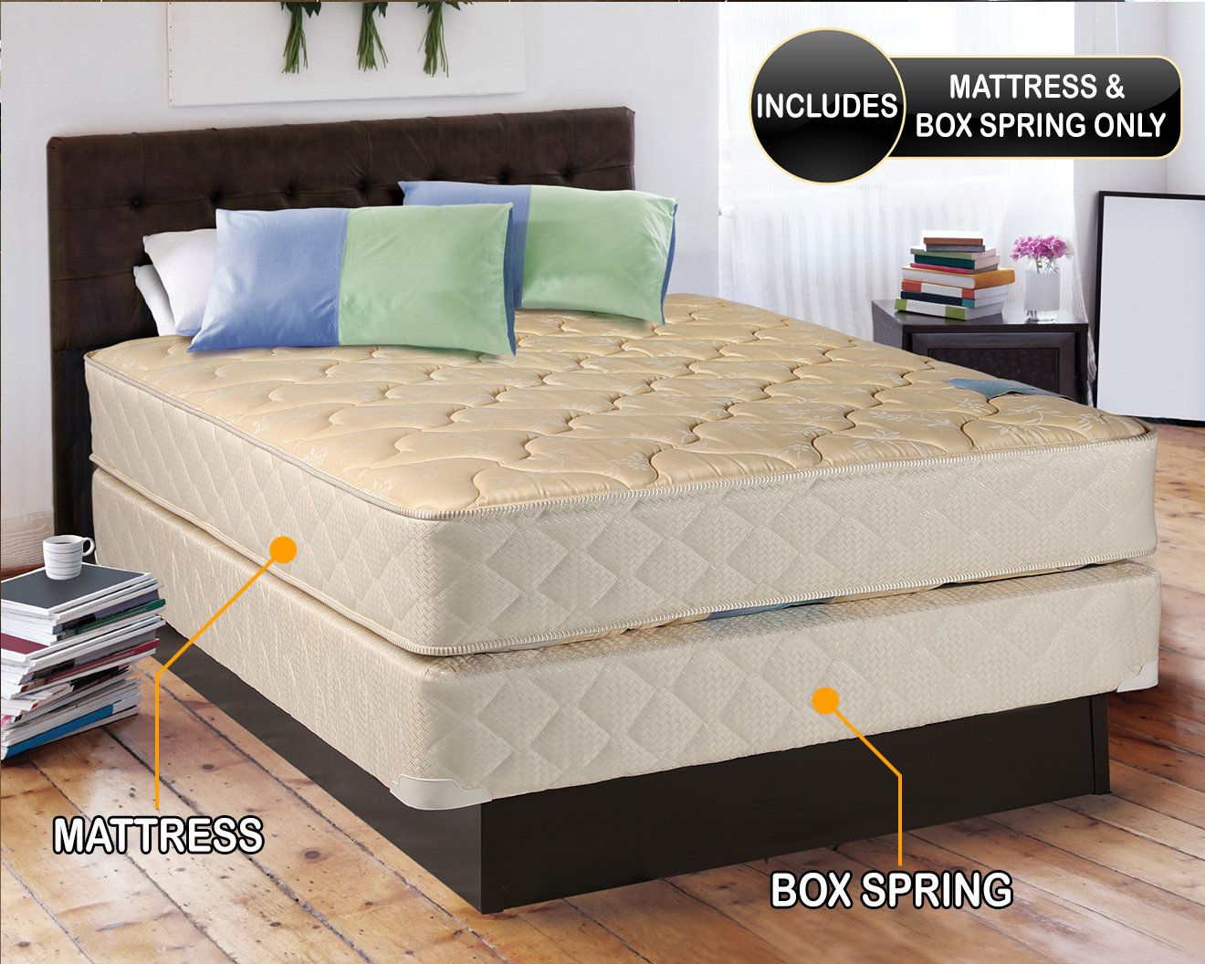 Chiro Premier Orthopedic (Beige Color) Full XL Size (54''x80''x9'') Mattress and Box Spring Set - Fully Assembled, Good for your back, Superior Quality, Long Lasting and 2 Sided - By Dream Solutions USA by Dream Solutions USA