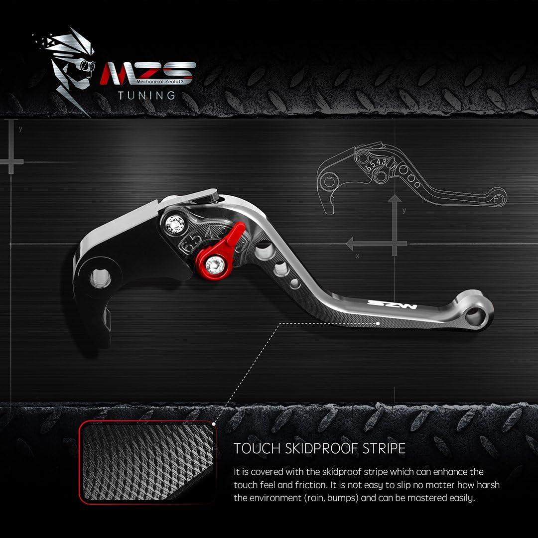 MZS Short Brake Clutch Levers for Suzuki GSXR600 2004-2005,GSXR750 2004-2005-Black