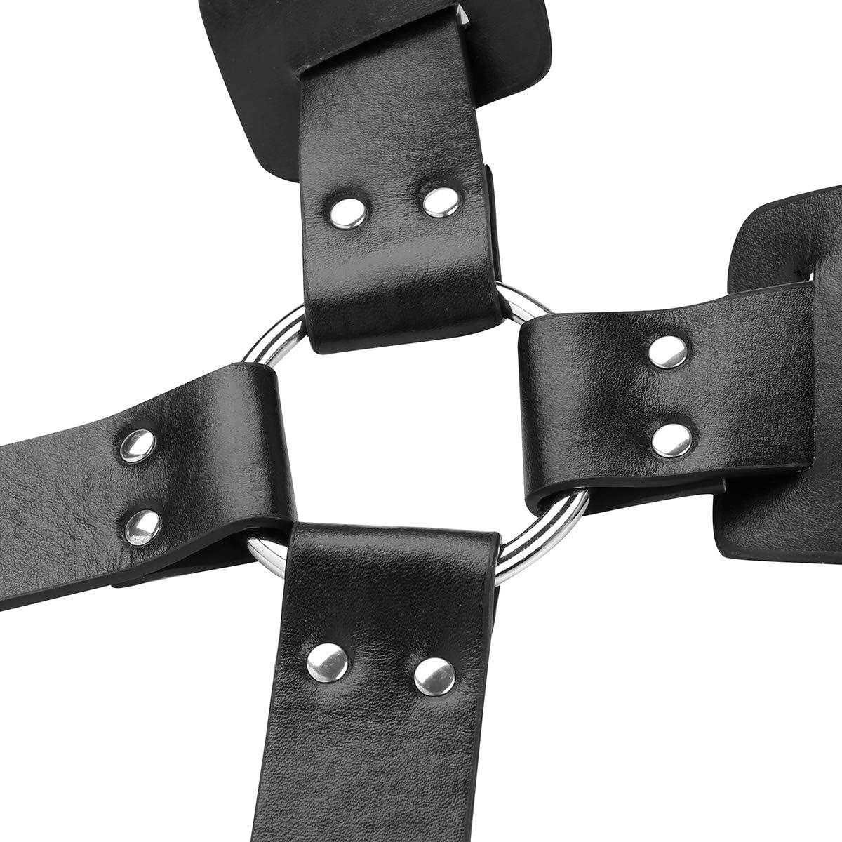 Alvivi Mens Adjustable PU Leather X Shaped Back Body Chest Half Harness Metal Buckle Straps Black