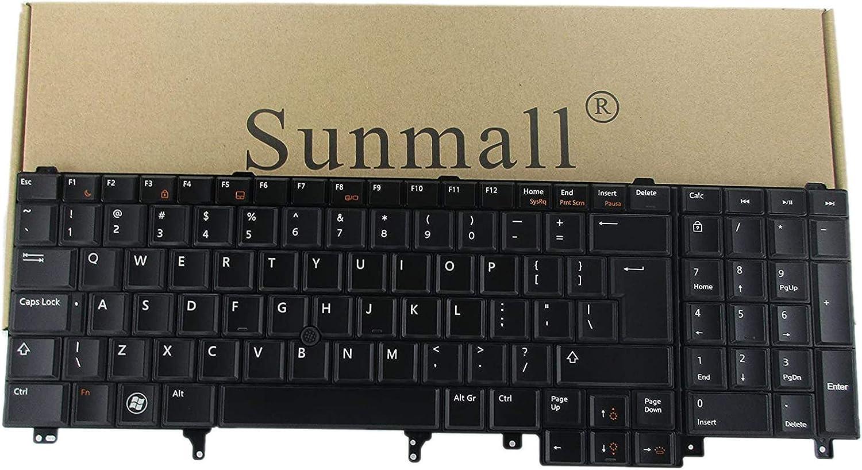 SUNMALL Replacement Keyboard with (Pointer and Backlight) Compatible with Dell Latitude E5520 E5520m E5530 E6520 E6530 E6540 Precision M4600 M4700 M6600 M6700 Laptop US Layout