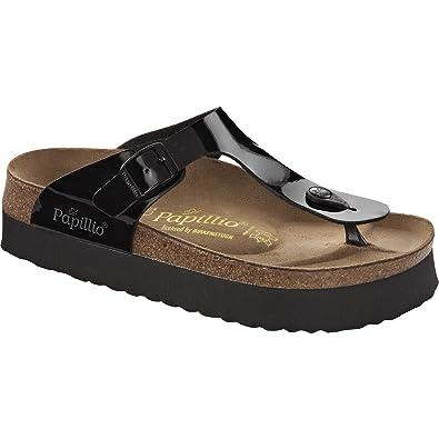 6e51483623cc Birkenstock Papillio Gizeh Platform Sandal Black Patent Birko-Flor 304621  (6)