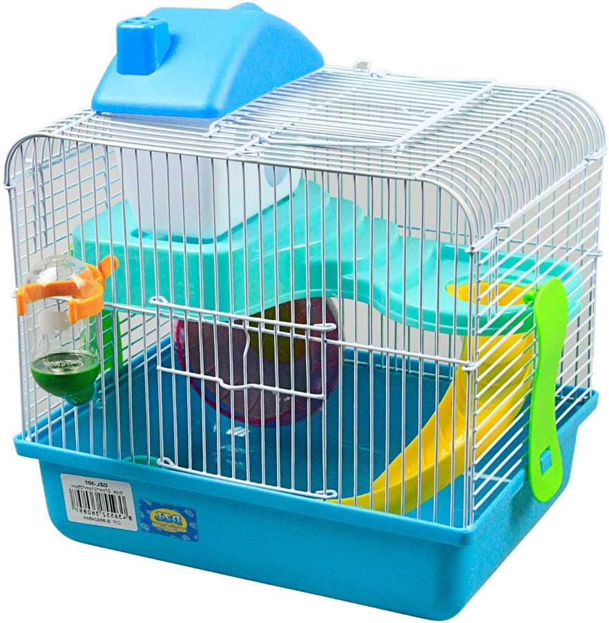 DI ZE LIN PET HOME S.L DZL® Jaula para Hamster 27 * 21 * 25cm jaulas Hamsters pequeña Bebedero comedero y Escalera incluidos al Azar