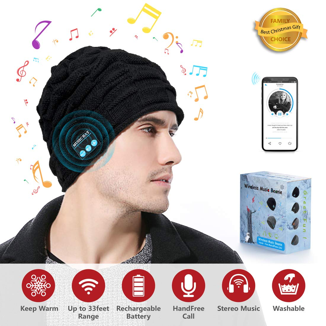 CreateGreat Bluetooth Beanie Hat, Wireless Smart Headphone Premium Knit Cap with Speaker & Mic, Unisex Headset Musical Cap for Outdoor Sports Running Skiing Hiking Christmas Birthday Gifts(Black01)
