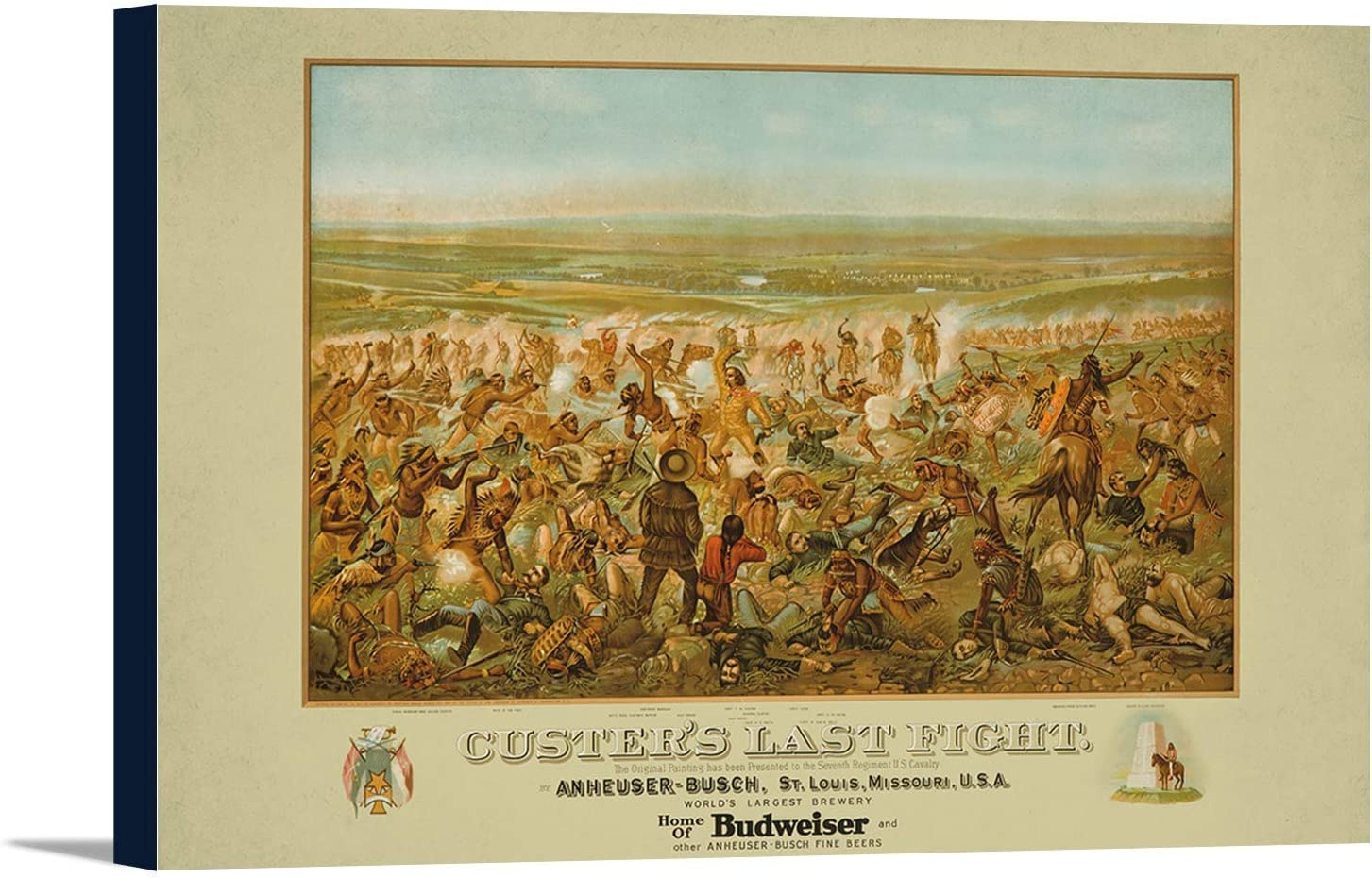 Custer's Last Fight - Anheuser - Busch - Budweiser Vintage Poster (artist: Becker) USA c. 1936 (36x24 Gallery Wrapped Stretched Canvas)