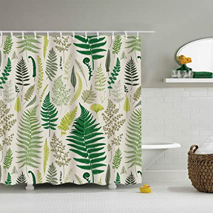 Ezlif Green Yellow Plant Fern Leaves Home Decor Shower Curtain 70 X
