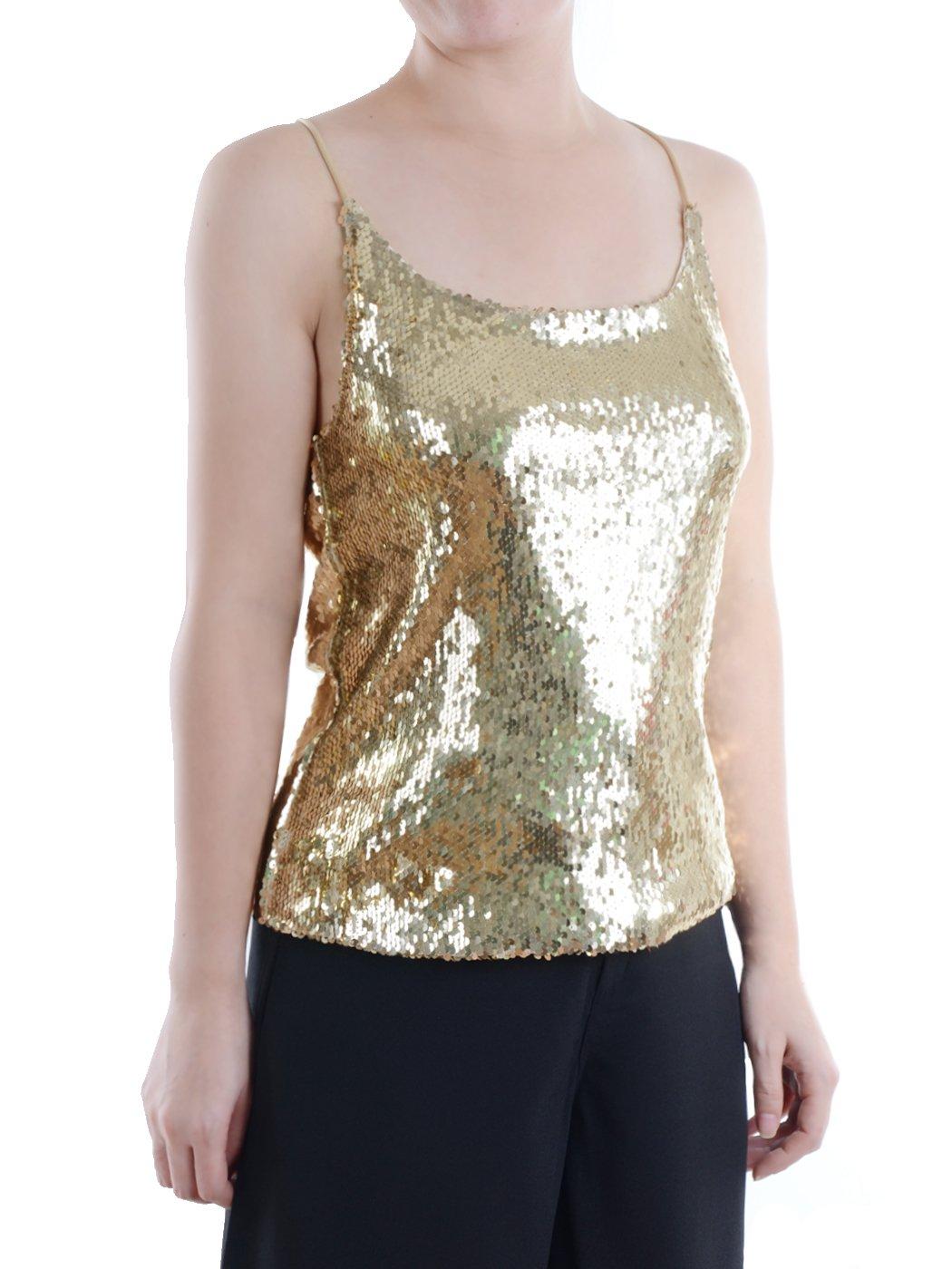 aeccc1c025013 Galleon - Anna-Kaci Womens All Over Shiny Sequin Spaghetti Strap Vest Tank  Top