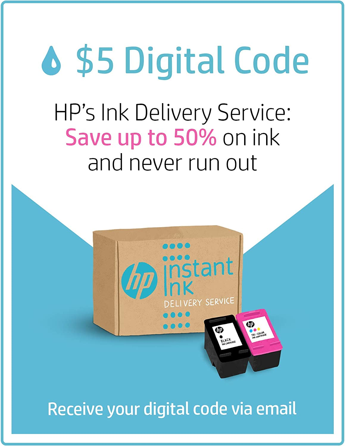 HP Instant Ink $5 Prepaid Code, use to enroll in HP Instant Ink, HPs Ink Delivery Service [Online Code]