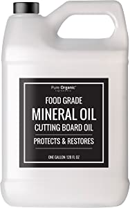 Mineral Oil 1 Gallon (128 oz.) by Pure Organic Ingredients, Food & USP Grade, for Cutting Boards, Butcher Blocks, Counter Tops, Wooden Utensils, More