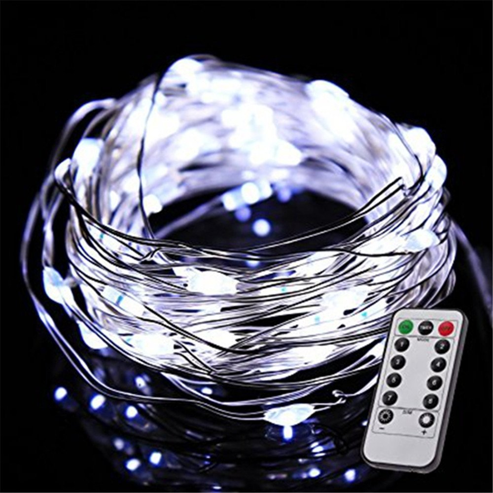 jiguoor LED Wire String light with Remote Control, Waterproof Decorative Lights suitable for Bedroom, Patio, Garden, Potted Plants, Gate, Party, Wedding(RGB/Warm white/White)