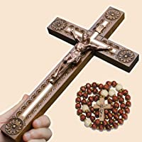 Asterom Hand Carved Crucifix Wall Cross for Home Decor - Wooden Catholic Wall Crucifix - 12 Inch