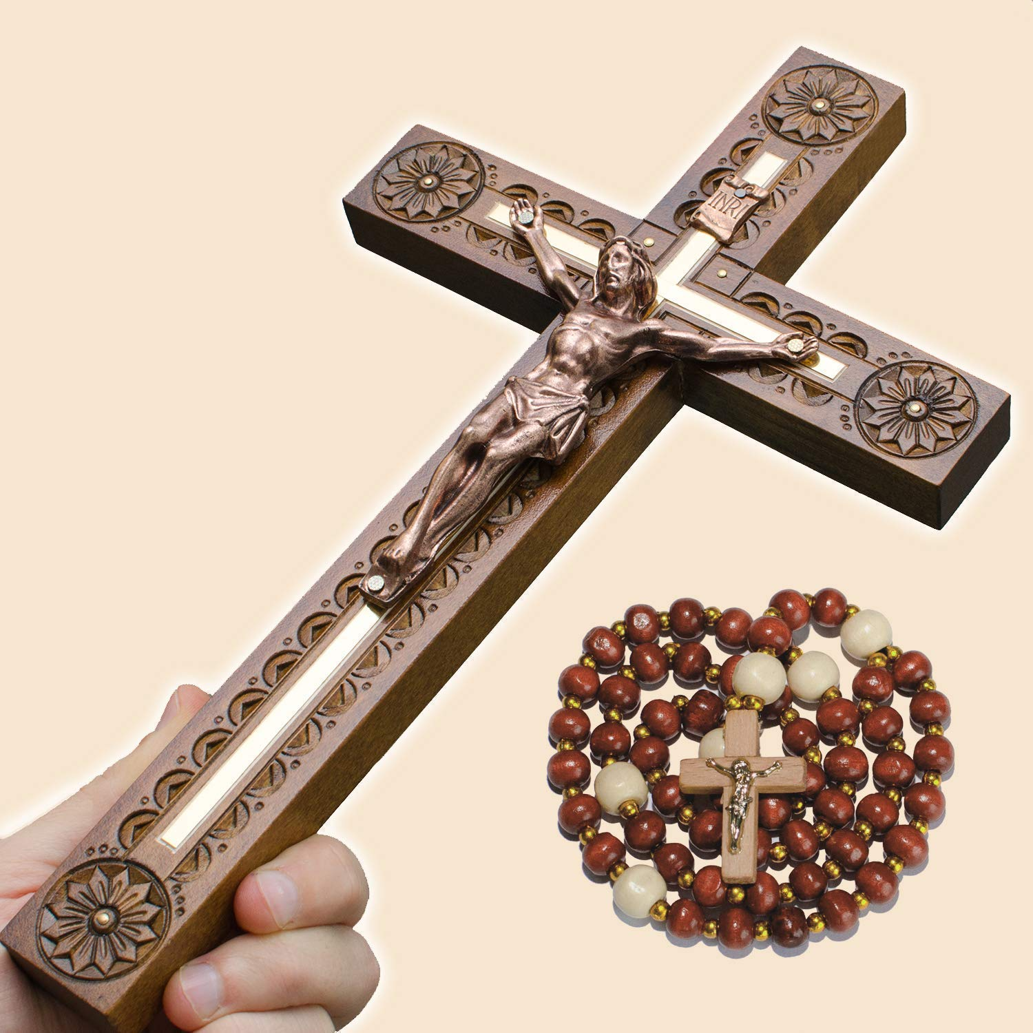 Hand Carved Crucifix Wall Cross for Home Decor - Wooden Catholic Wall Crucifix - 12 Inch