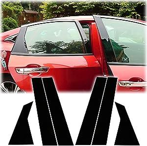 Xotic Tech for Honda Civic 10th Gen Sedan 2016 2017 2018 2019 2020 6pcs Glossy Black ABS Exterior Door Window Pillar Posts Protector Cover Trim New