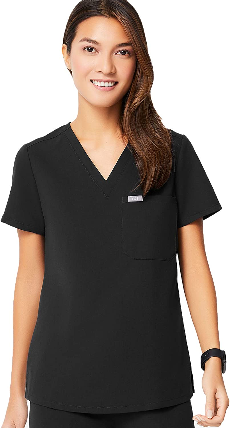 FIGS Catarina One-Pocket Scrub Top for Women – Slim Fit, Super Soft Stretch, Anti-Wrinkle Medical Scrub Top: Clothing