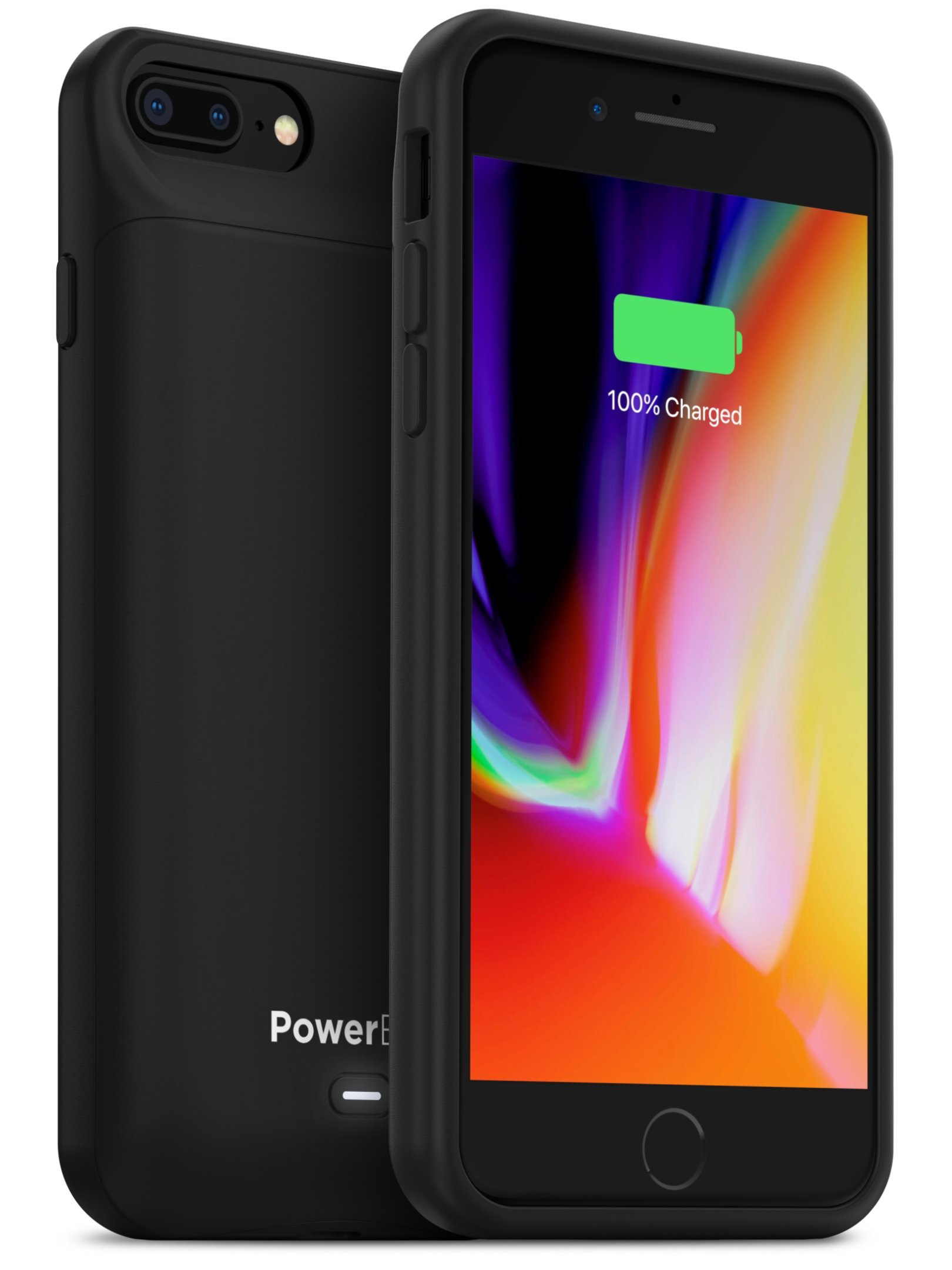 PowerBear iPhone 7 Plus Battery Case/iPhone 8 Plus Battery Case [7200mAh] Music and Data Transfer | High Capacity Rechargeable Charger Pack (Up to 265% Extra Battery) - Black [24 Month Warranty]