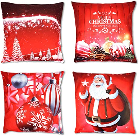 OWUDE Merry Christmas Pillow Covers Pack de 4, Super Soft Fundas ...