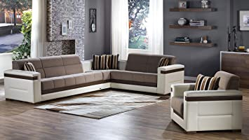Moon Sectional Sofa Bed Set in Platin Mustard (sectional sofa & chair)