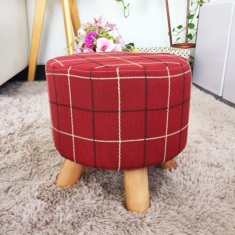 GE&YOBBY Round Fabric Footstool,Modern Solid Wood Ottoman Checked British Style Short Stool for Home-D 27x28cm(11x11inch)