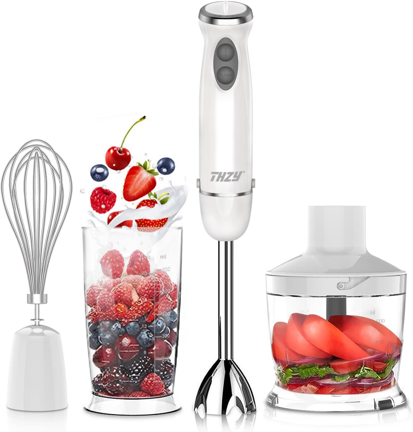 Hand Blender,THZY 4 in 1 Powerful 600W