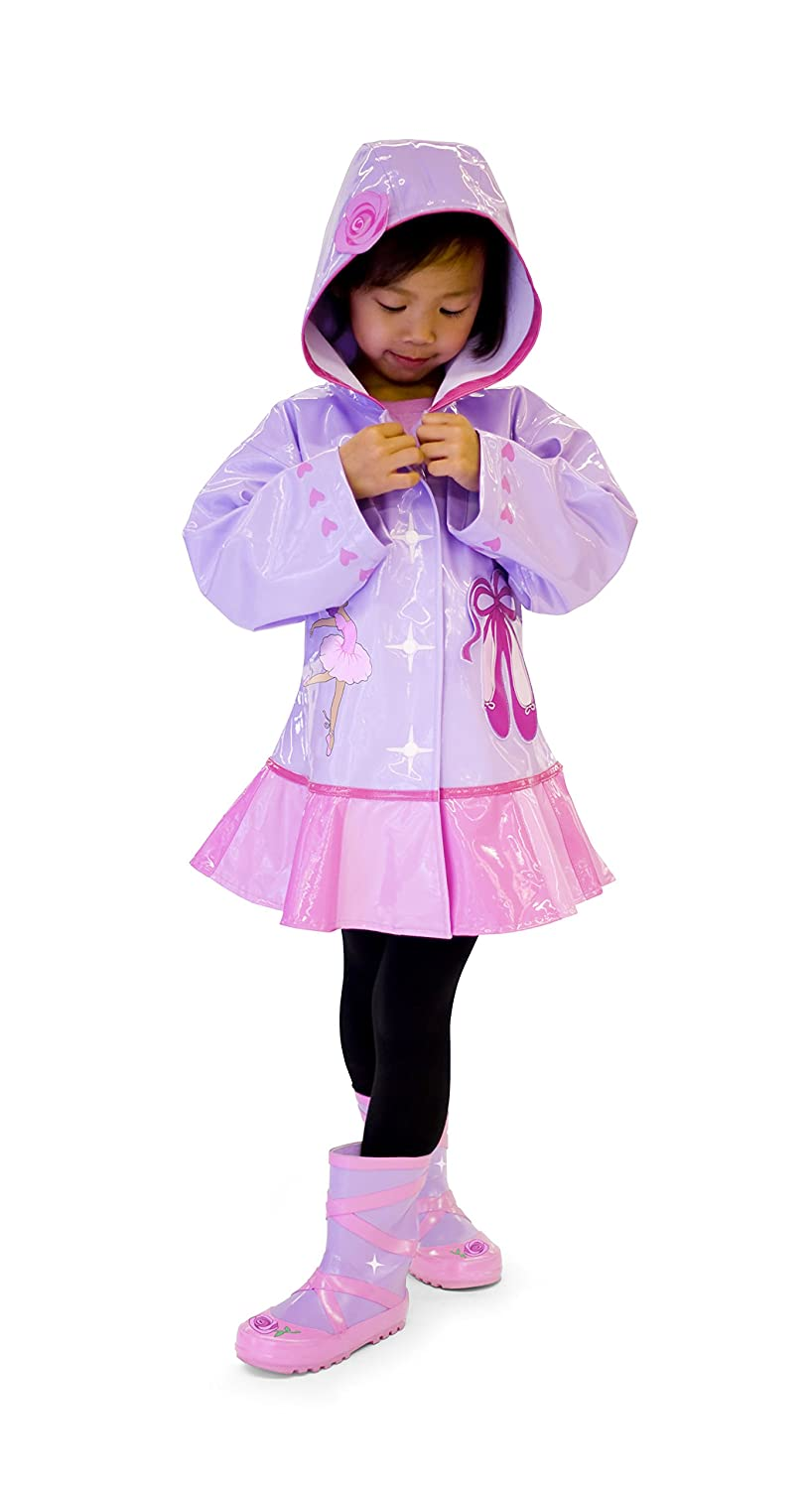 Dancer Hearts Kidorable Pink Ballerina PU All-Weather Raincoat for Girls w//Rose Ballet Shoes