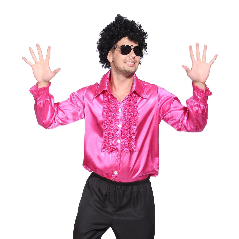 Amazon.com: 1970s Mens Disco Night Stag Party Metallic Ruffle Shirt ...