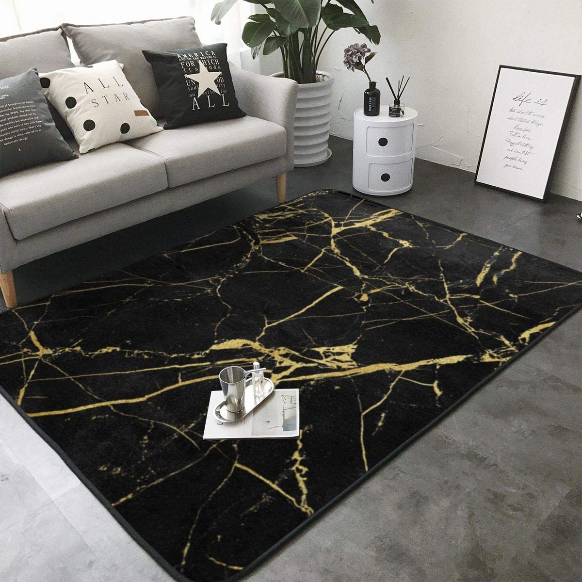 Kasablaro Black Gold Marble Print Area Rug Carpet Contemporary Rugs Living Room Dining Area Rugs Room Rugs Office Rugs Modern Rug 80 X 58 Home Kitchen
