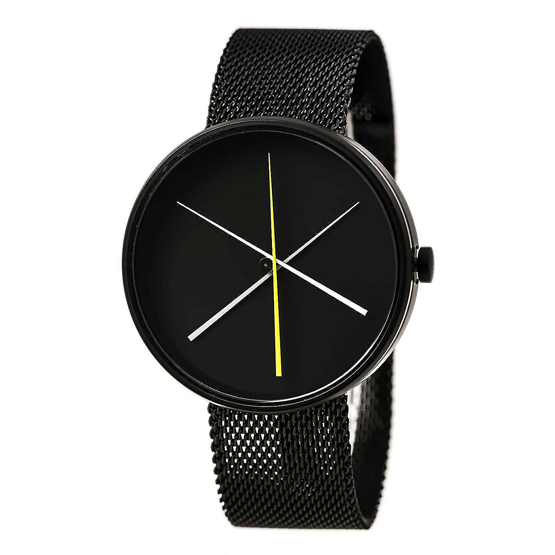 Projekte 7292b Single Coil - Unisex Crossover Schwarz Zifferblatt Schwarz IP Stahl Mesh Armband Armbanduhr
