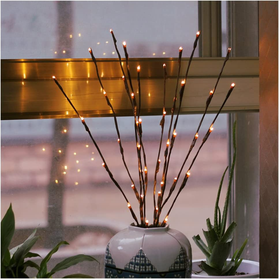 2 Pack Branch Lights - Led Branches Battery Powered Decorative Lights Tall Vase Filler Willow Twig Lighted Branch for Home Decoration Warm White - 20 Inches 20 LED Lights (Branches Light)