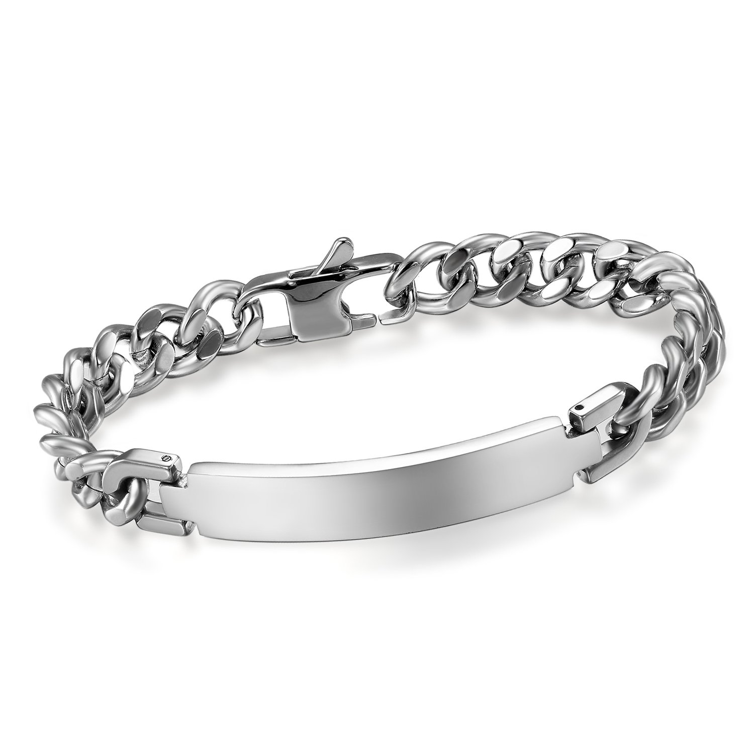 Cupimatch Men's 9MM Wide Stainless Steel ID Tag Bracelet Chain Link Wrist Bangle, 8.3 8.3 C006036