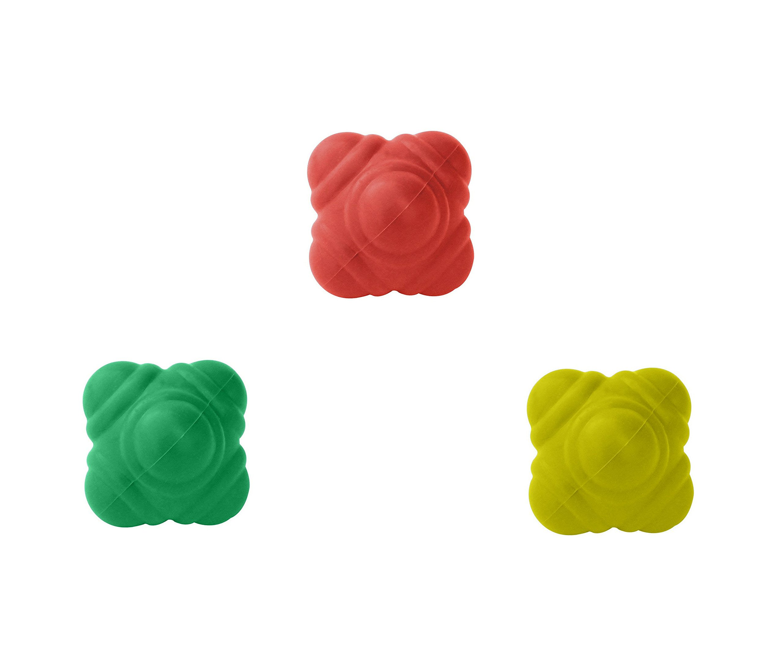 GSI Bounce Reaction Balls for Agility Reflex and Coordination Training - Pack of 3 (72 mm)
